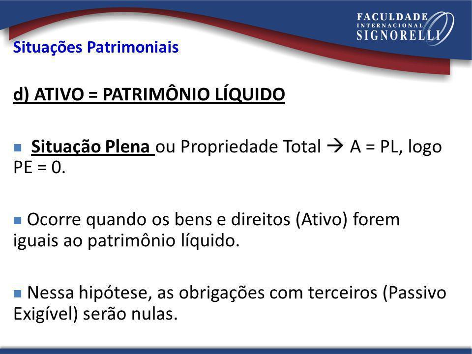 d) ATIVO = PATRIMÔNIO LÍQUIDO Situação Plena ou Propriedade Total A = PL, logo PE = 0. Ocorre quando os bens e direitos (Ativo) forem iguais ao patrim