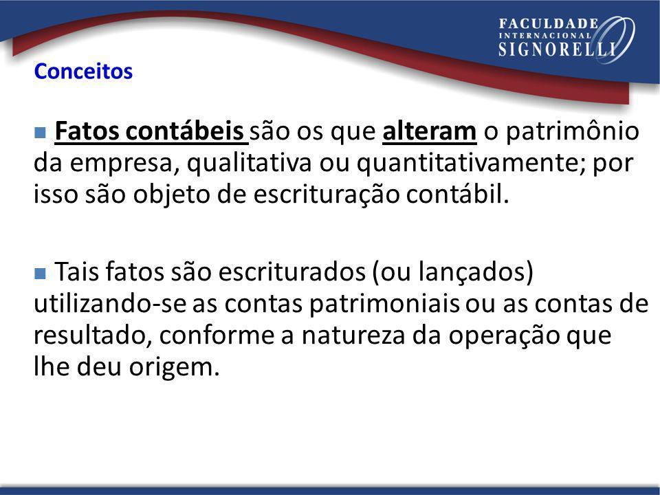 Conceitos Fatos contábeis são os que alteram o patrimônio da empresa, qualitativa ou quantitativamente; por isso são objeto de escrituração contábil.