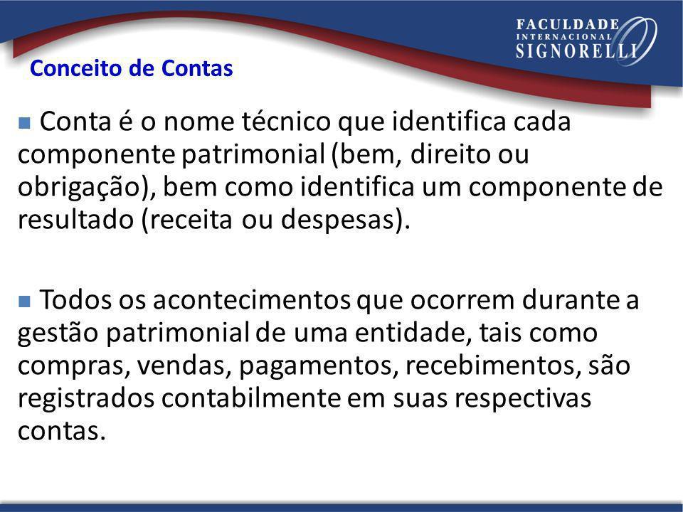 Conceito de Contas Conta é o nome técnico que identifica cada componente patrimonial (bem, direito ou obrigação), bem como identifica um componente de