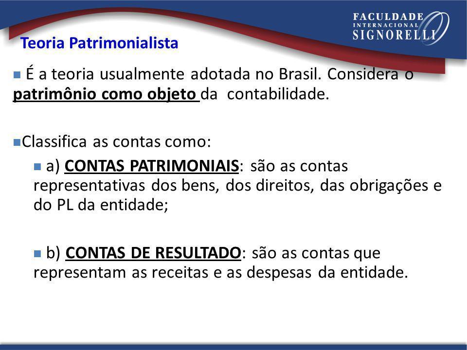 Teoria Patrimonialista É a teoria usualmente adotada no Brasil. Considera o patrimônio como objeto da contabilidade. Classifica as contas como: a) CON