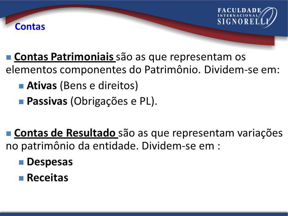 Contas Contas Patrimoniais são as que representam os elementos componentes do Patrimônio. Dividem-se em: Ativas (Bens e direitos) Passivas (Obrigações