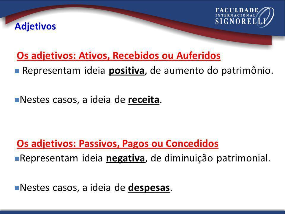 Adjetivos Os adjetivos: Ativos, Recebidos ou Auferidos Representam ideia positiva, de aumento do patrimônio. Nestes casos, a ideia de receita. Os adje
