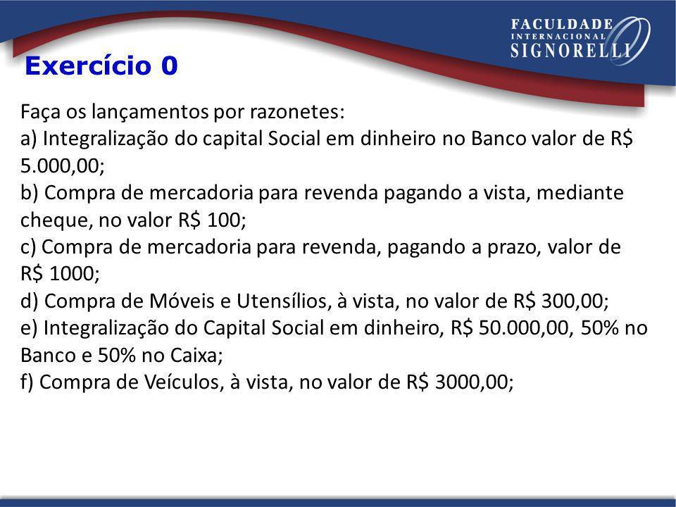Faça os lançamentos por razonetes: a) Integralização do capital Social em dinheiro no Banco valor de R$ 5.000,00; b) Compra de mercadoria para revenda