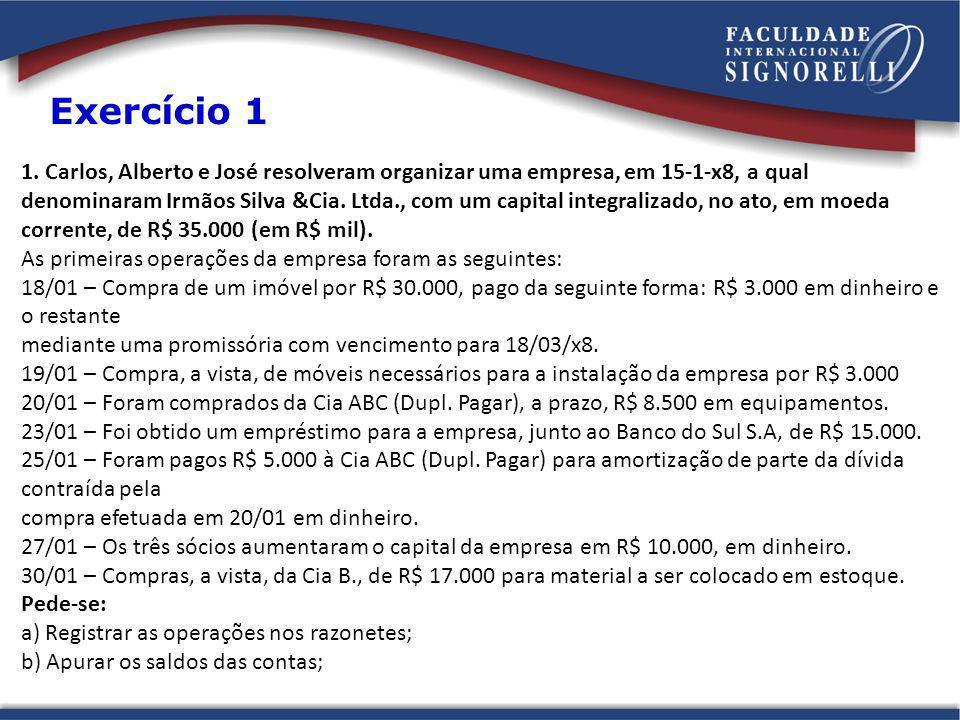 1. Carlos, Alberto e José resolveram organizar uma empresa, em 15-1-x8, a qual denominaram Irmãos Silva &Cia. Ltda., com um capital integralizado, no