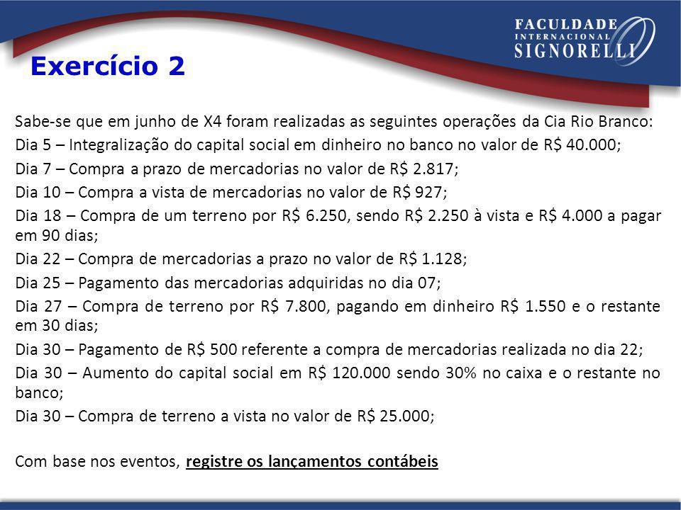 Sabe-se que em junho de X4 foram realizadas as seguintes operações da Cia Rio Branco: Dia 5 – Integralização do capital social em dinheiro no banco no