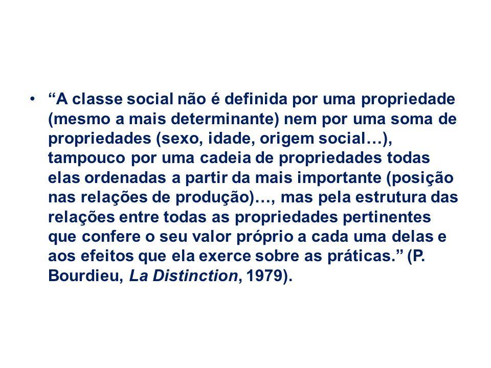A classe social não é definida por uma propriedade (mesmo a mais determinante) nem por uma soma de propriedades (sexo, idade, origem social…), tampouc
