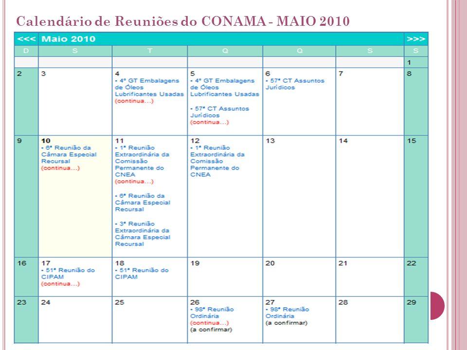 Calendário de Reuniões do CONAMA - MAIO 2010