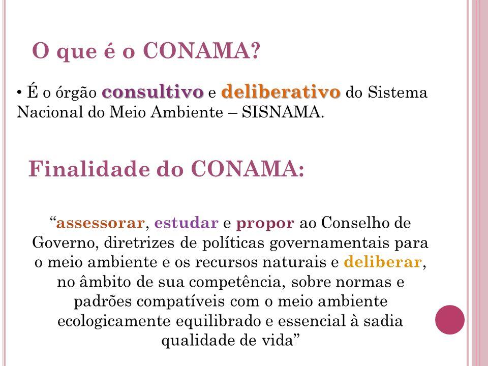 O que é o CONAMA? consultivodeliberativo É o órgão consultivo e deliberativo do Sistema Nacional do Meio Ambiente – SISNAMA. Finalidade do CONAMA: ass