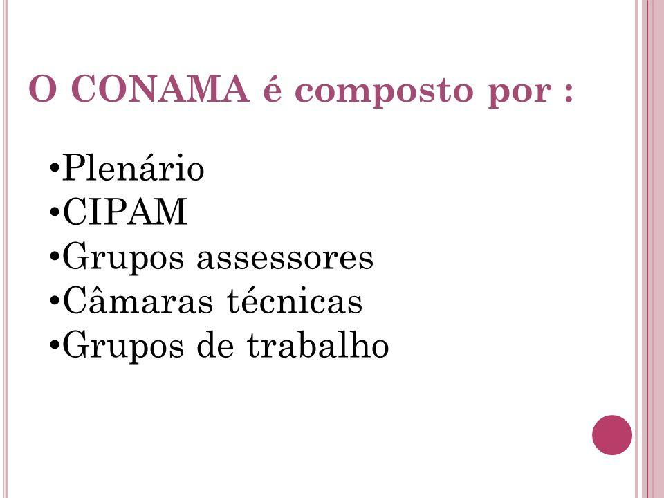 O CONAMA é composto por : Plenário CIPAM Grupos assessores Câmaras técnicas Grupos de trabalho