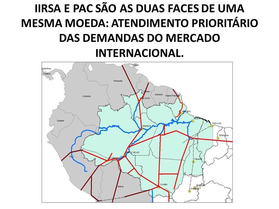 IIRSA E PAC SÃO AS DUAS FACES DE UMA MESMA MOEDA: ATENDIMENTO PRIORITÁRIO DAS DEMANDAS DO MERCADO INTERNACIONAL.