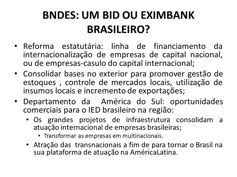BNDES: UM BID OU EXIMBANK BRASILEIRO? Reforma estatutária: linha de financiamento da internacionalização de empresas de capital nacional, ou de empres