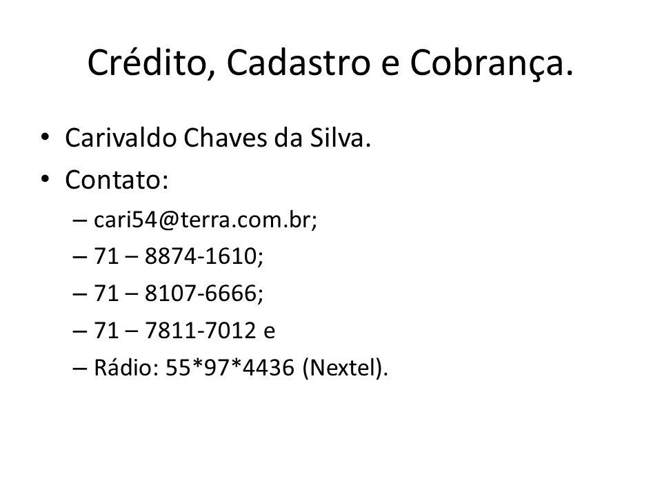 Carivaldo Chaves da Silva. Contato: – cari54@terra.com.br; – 71 – 8874-1610; – 71 – 8107-6666; – 71 – 7811-7012 e – Rádio: 55*97*4436 (Nextel).