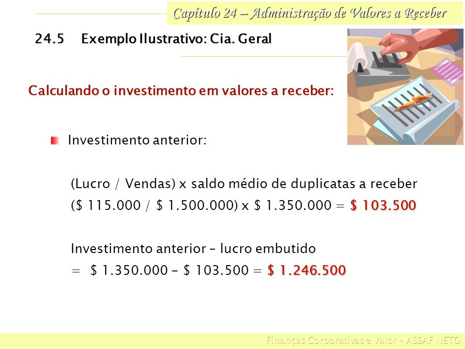 Capítulo 24 – Administração de Valores a Receber 24.5Exemplo Ilustrativo: Cia. Geral Investimento anterior: (Lucro / Vendas) x saldo médio de duplicat
