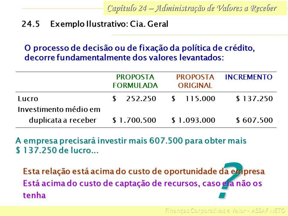 Capítulo 24 – Administração de Valores a Receber 24.5Exemplo Ilustrativo: Cia. Geral O processo de decisão ou de fixação da política de crédito, decor