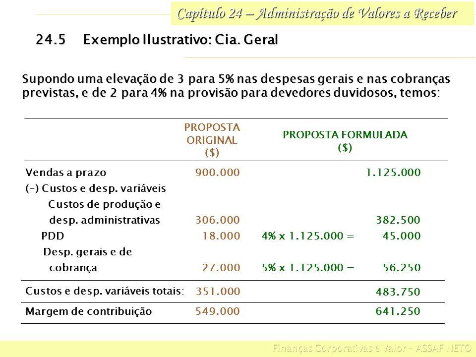 Capítulo 24 – Administração de Valores a Receber 24.5Exemplo Ilustrativo: Cia. Geral Supondo uma elevação de 3 para 5% nas despesas gerais e nas cobra