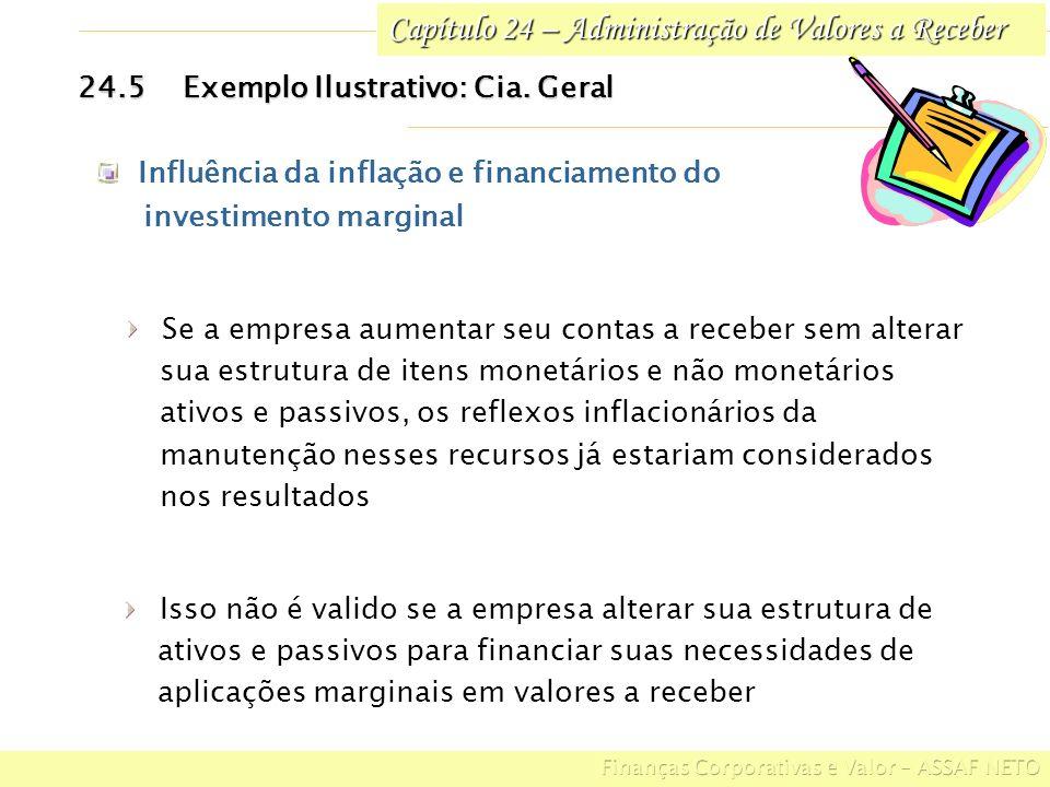 Capítulo 24 – Administração de Valores a Receber 24.5Exemplo Ilustrativo: Cia. Geral Influência da inflação e financiamento do investimento marginal I