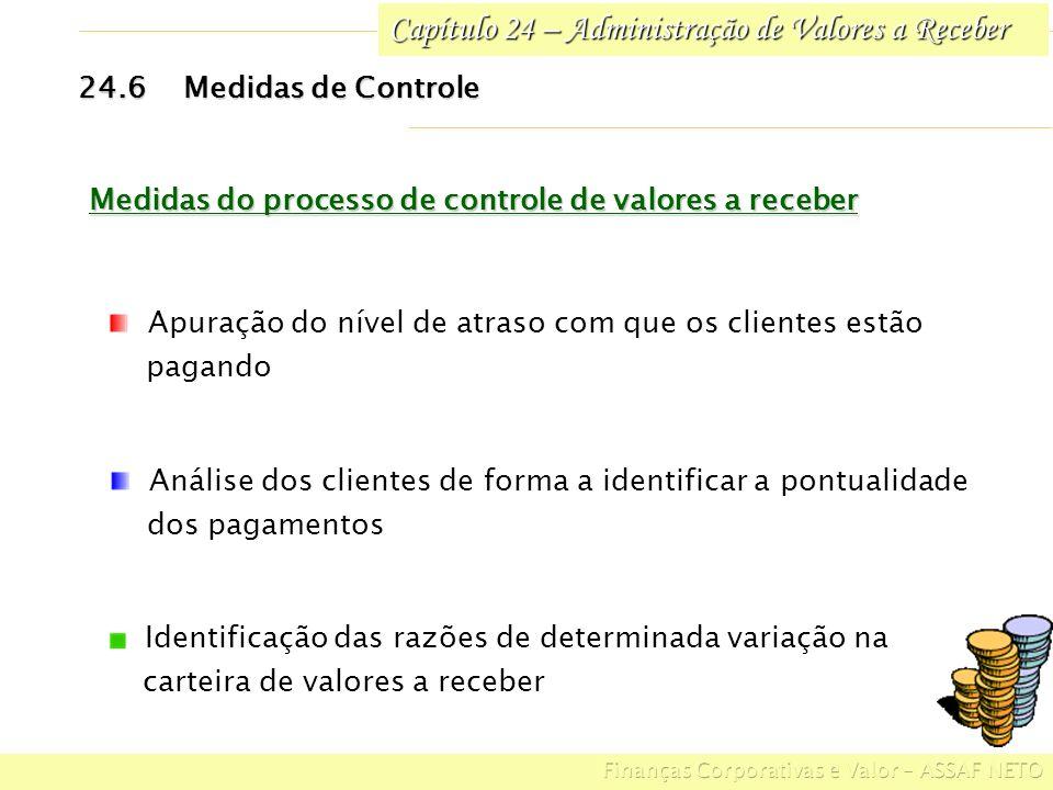 Capítulo 24 – Administração de Valores a Receber 24.6Medidas de Controle Medidas do processo de controle de valores a receber Apuração do nível de atr
