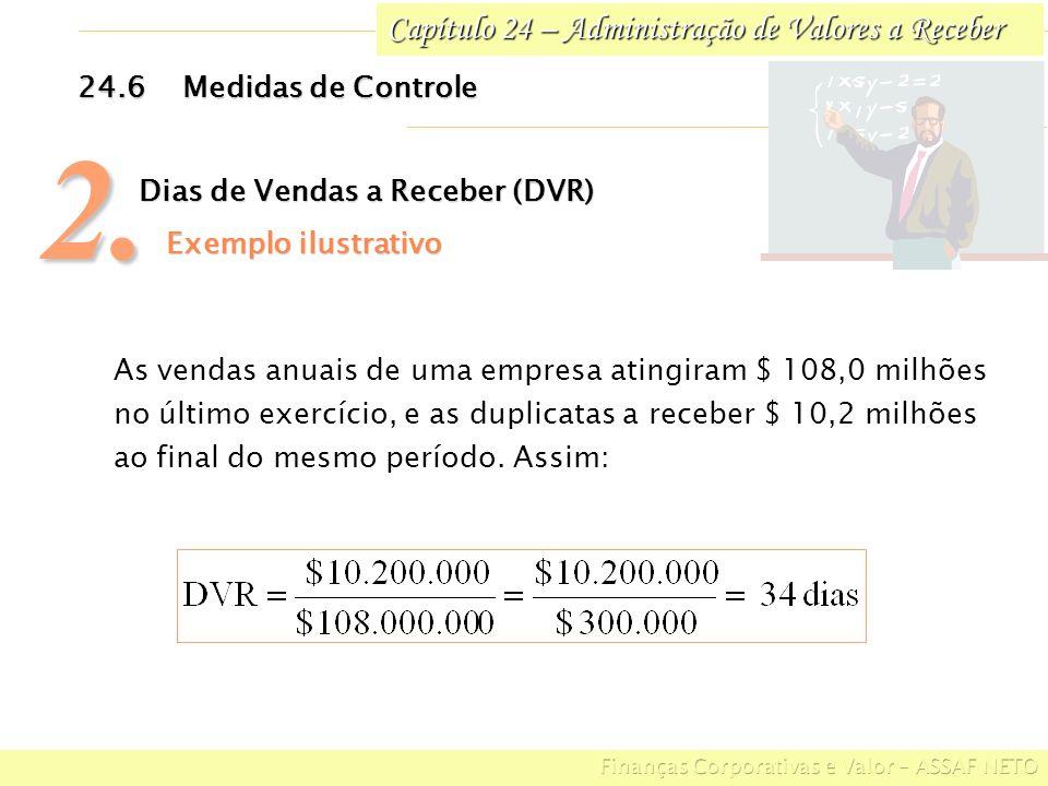 Capítulo 24 – Administração de Valores a Receber 24.6Medidas de Controle 2. Dias de Vendas a Receber (DVR) Exemplo ilustrativo Exemplo ilustrativo As