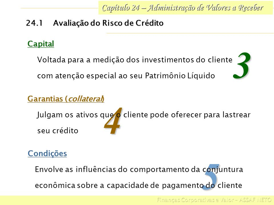 Capítulo 24 – Administração de Valores a Receber 5Condições Envolve as influências do comportamento da conjuntura econômica sobre a capacidade de paga