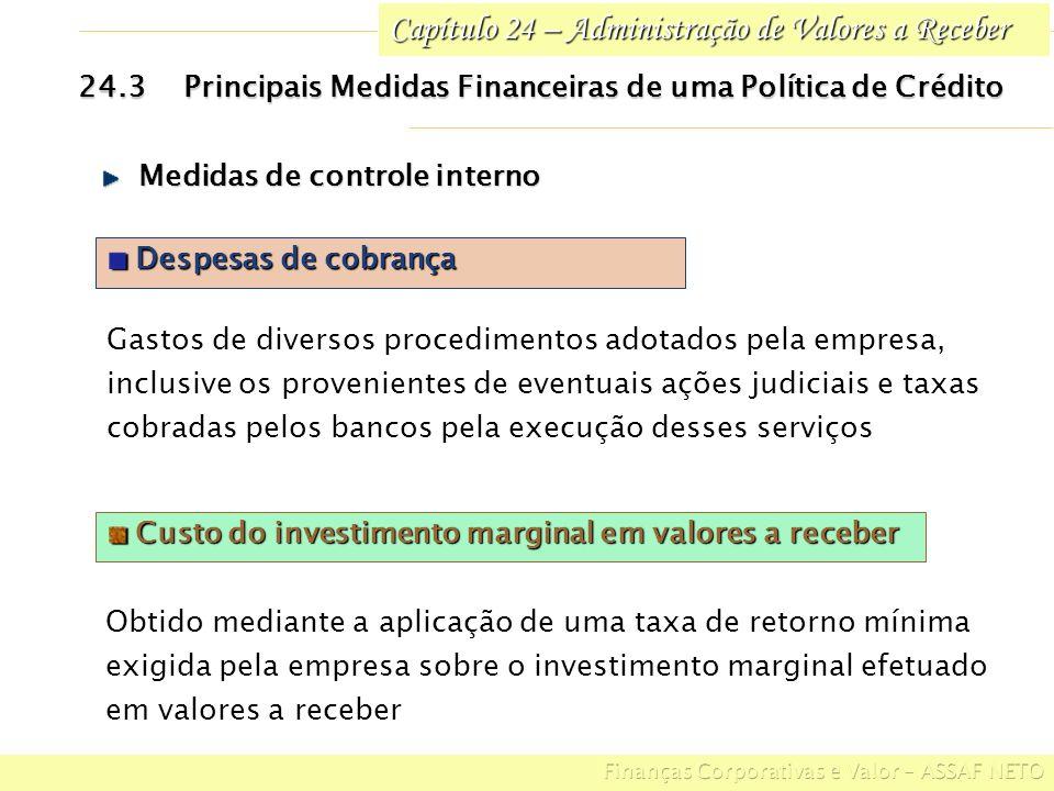Capítulo 24 – Administração de Valores a Receber 24.4Influências de uma Política de Crédito Sobre as Medidas Financeiras POLÍTICAS DE COBRANÇA DESCONTOS FINANCEIROS PRAZO DE CONCESSÃO DE CRÉDITO PADRÕES DE CRÉDITO AFROUXA- MENTO Invest.