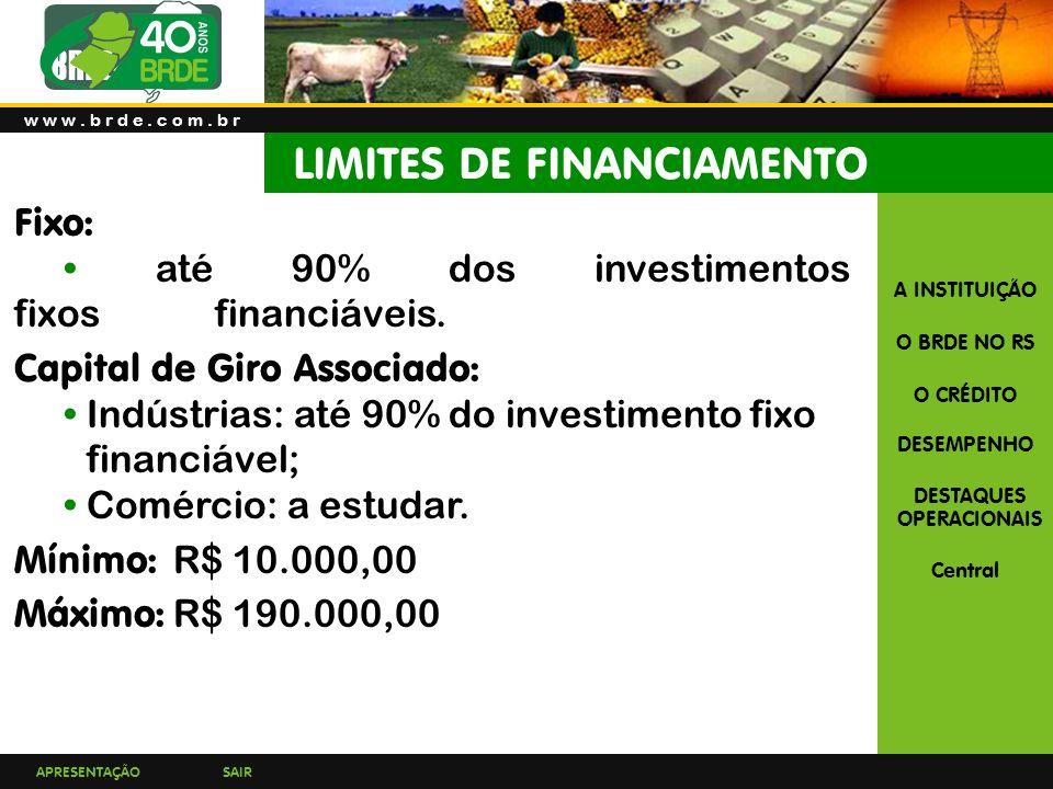 APRESENTAÇÃOSAIR A INSTITUIÇÃO O BRDE NO RS O CRÉDITO DESEMPENHO DESTAQUES OPERACIONAIS Central Fixo: até 90% dos investimentos fixos financiáveis.