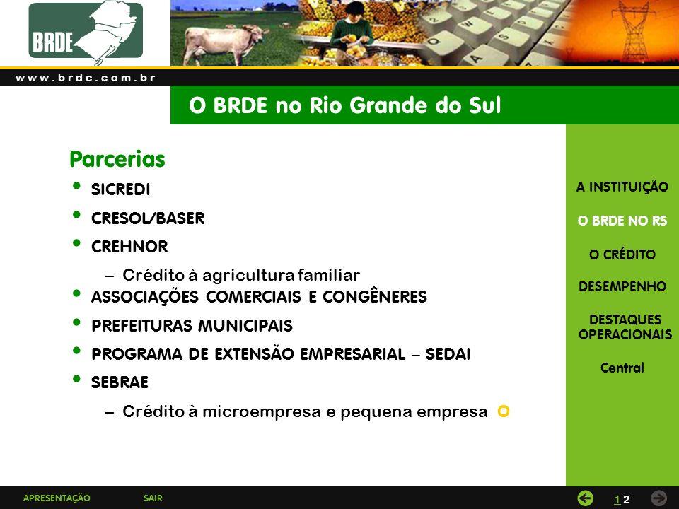 APRESENTAÇÃOSAIR A INSTITUIÇÃO O BRDE NO RS O CRÉDITO DESEMPENHO DESTAQUES OPERACIONAIS Central O BRDE no Rio Grande do Sul w w w.