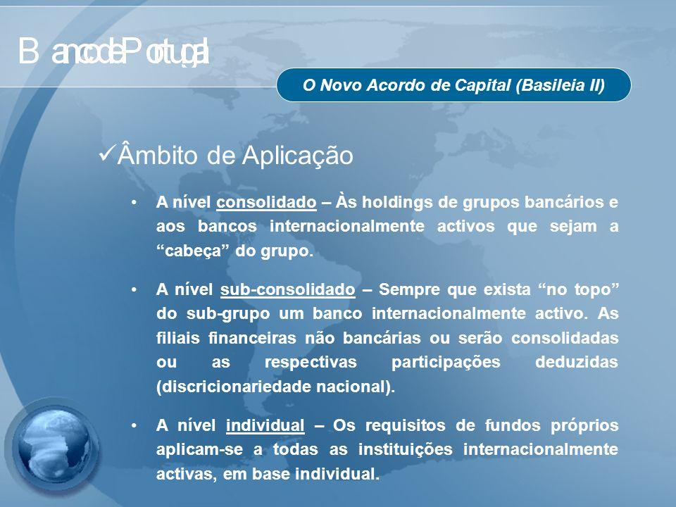 O Novo Acordo de Capital (Basileia II) Âmbito de Aplicação A nível consolidado – Às holdings de grupos bancários e aos bancos internacionalmente activ