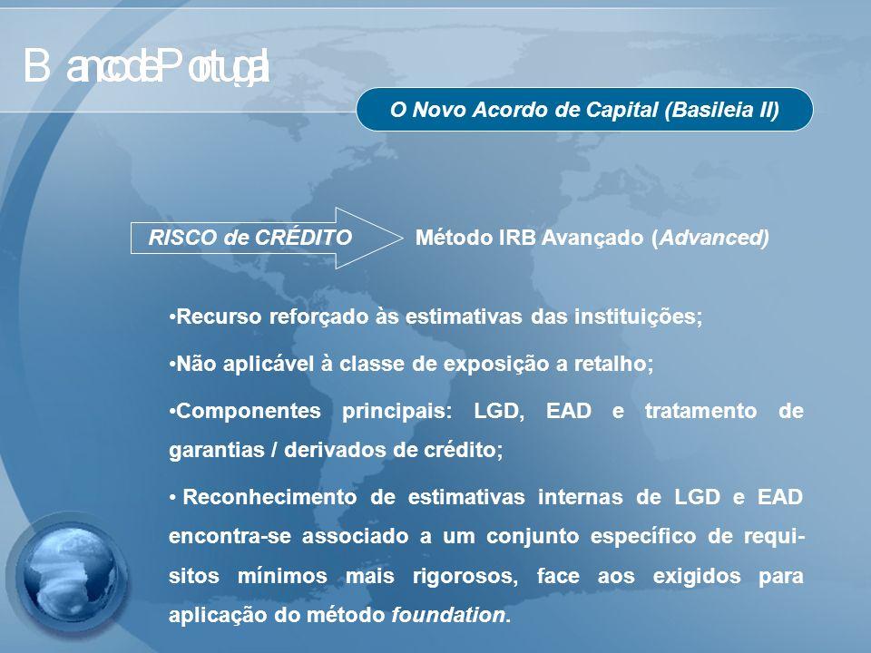 O Novo Acordo de Capital (Basileia II) RISCO de CRÉDITO Método IRB Avançado (Advanced) Recurso reforçado às estimativas das instituições; Não aplicáve