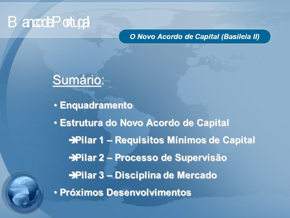O Novo Acordo de Capital (Basileia II) Sumário Sumário: Enquadramento Enquadramento Estrutura do Novo Acordo de Capital Estrutura do Novo Acordo de Ca