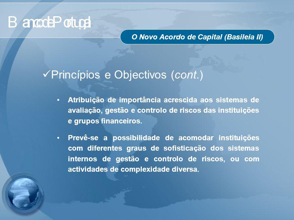 O Novo Acordo de Capital (Basileia II) Princípios e Objectivos (cont.) Atribuição de importância acrescida aos sistemas de avaliação, gestão e control