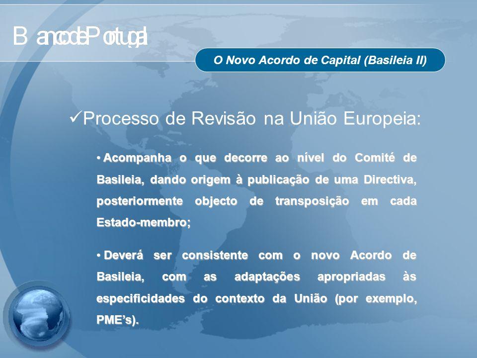 O Novo Acordo de Capital (Basileia II) Acompanha o que decorre ao nível do Comité de Basileia, dando origem à publicação de uma Directiva, posteriorme