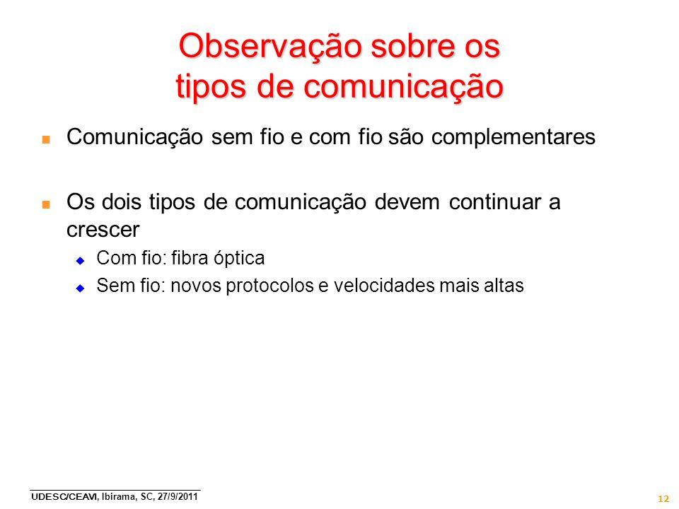 UDESC/CEAVI, Ibirama, SC, 27/9/2011 12 Observação sobre os tipos de comunicação n Comunicação sem fio e com fio são complementares n Os dois tipos de