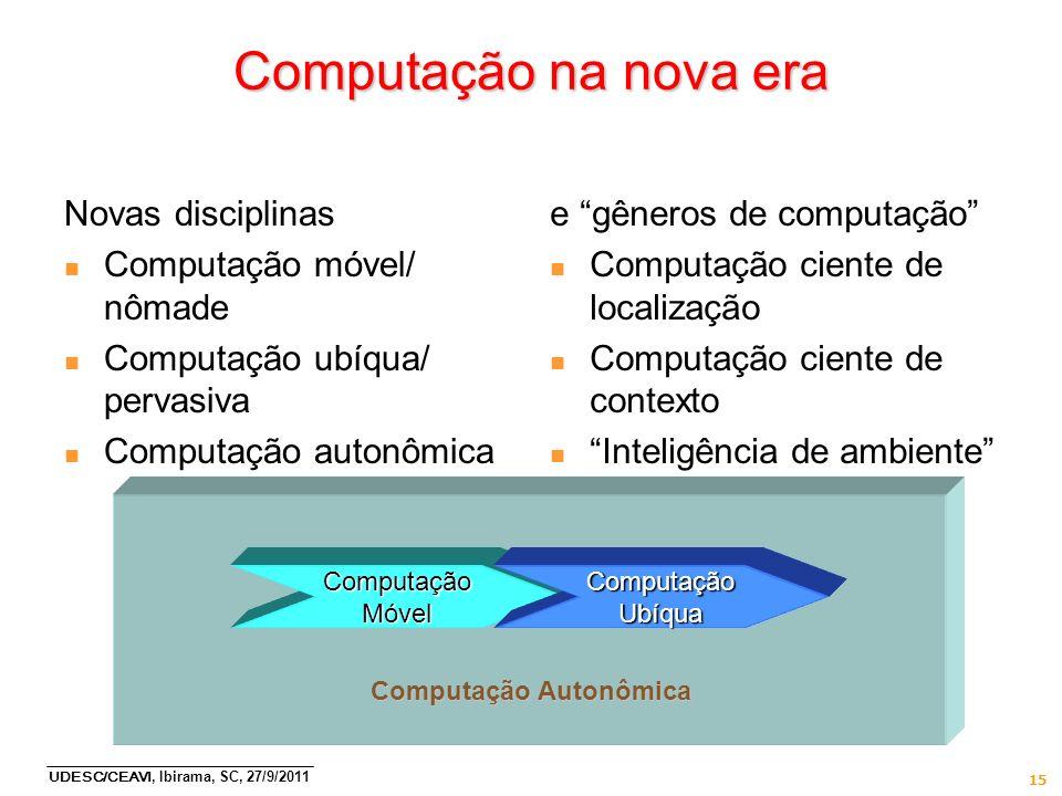 UDESC/CEAVI, Ibirama, SC, 27/9/2011 15 Computação na nova era Novas disciplinas n Computação móvel/ nômade n Computação ubíqua/ pervasiva n Computação