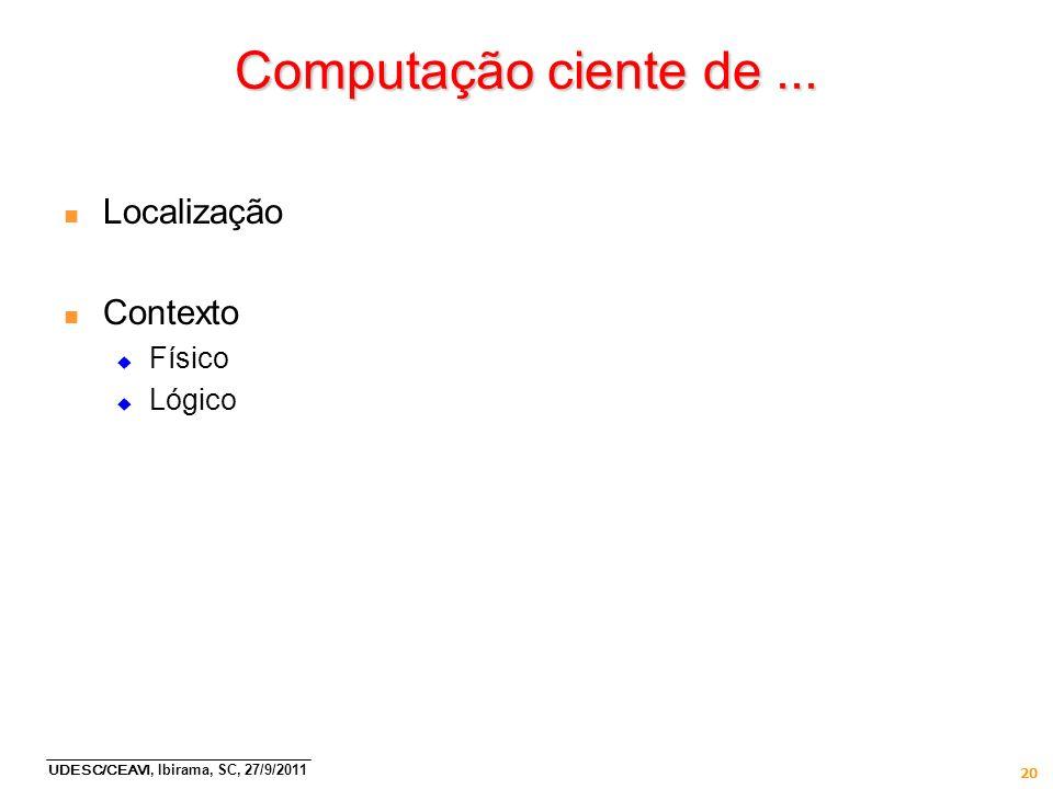 UDESC/CEAVI, Ibirama, SC, 27/9/2011 20 Computação ciente de... n Localização n Contexto Físico Lógico