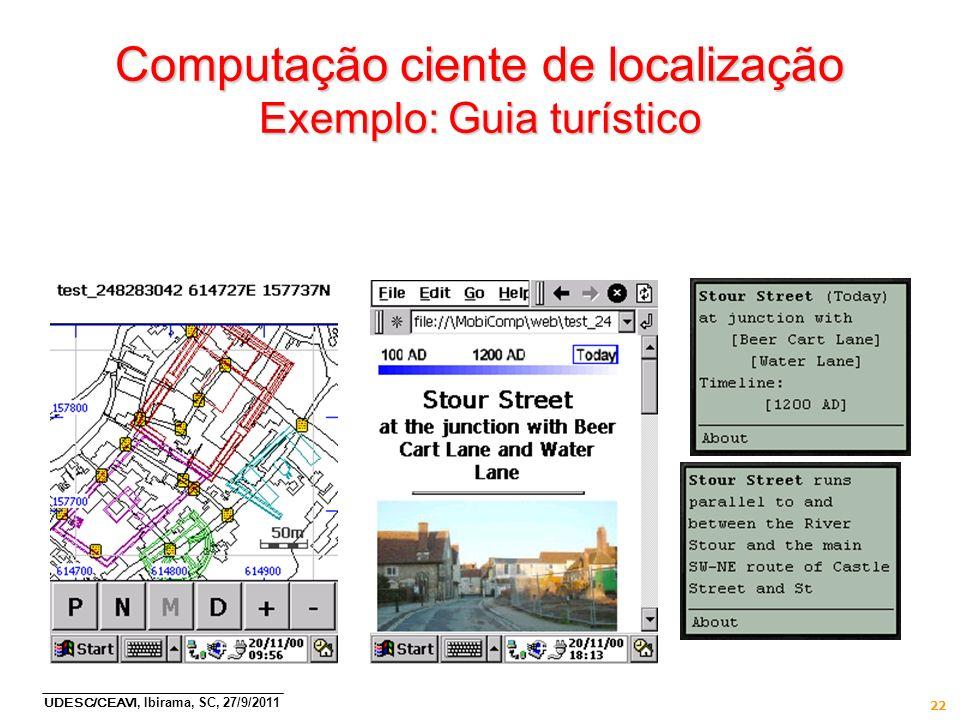 UDESC/CEAVI, Ibirama, SC, 27/9/2011 22 Computação ciente de localização Exemplo: Guia turístico