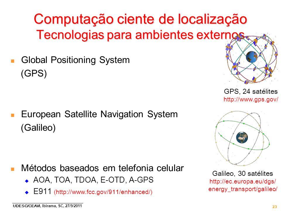 UDESC/CEAVI, Ibirama, SC, 27/9/2011 23 Computação ciente de localização Tecnologias para ambientes externos n Global Positioning System (GPS) n Europe