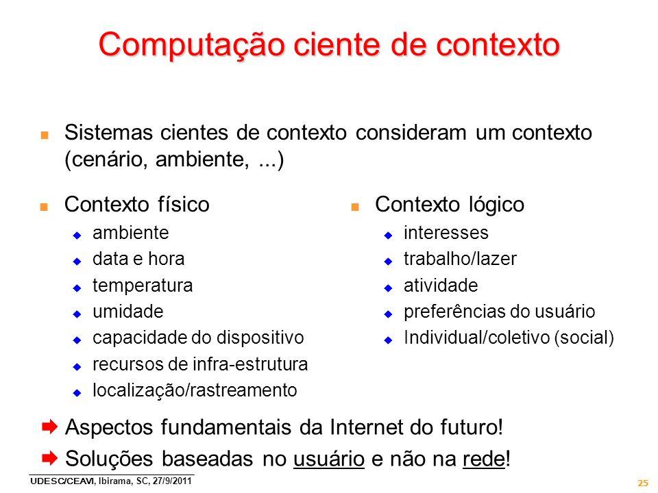 UDESC/CEAVI, Ibirama, SC, 27/9/2011 25 Computação ciente de contexto n Sistemas cientes de contexto consideram um contexto (cenário, ambiente,...) n C