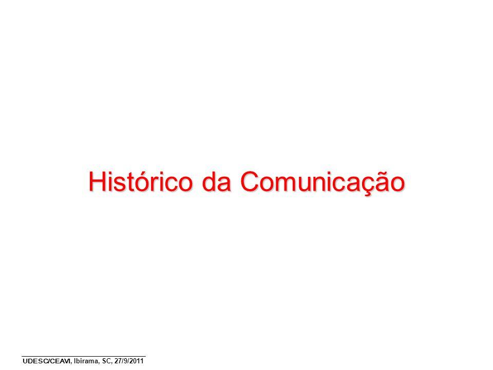 UDESC/CEAVI, Ibirama, SC, 27/9/2011 4 Qual é o tamanho do mundo do ponto de vista da comunicação.