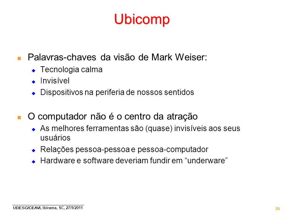 UDESC/CEAVI, Ibirama, SC, 27/9/2011 35 Ubicomp n Palavras-chaves da visão de Mark Weiser: Tecnologia calma Invisível Dispositivos na periferia de noss