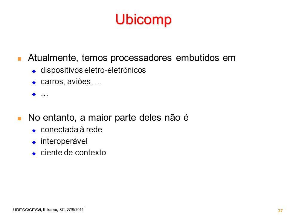 UDESC/CEAVI, Ibirama, SC, 27/9/2011 37 Ubicomp n Atualmente, temos processadores embutidos em dispositivos eletro-eletrônicos carros, aviões,... … n N