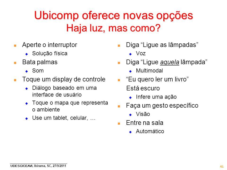 UDESC/CEAVI, Ibirama, SC, 27/9/2011 41 Ubicomp oferece novas opções Haja luz, mas como? n Aperte o interruptor Solução física n Bata palmas Som n Toqu
