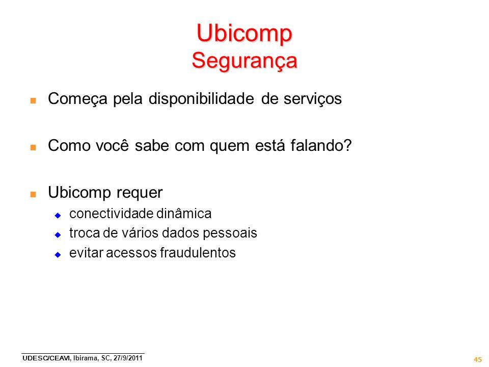 UDESC/CEAVI, Ibirama, SC, 27/9/2011 45 Ubicomp Segurança n Começa pela disponibilidade de serviços n Como você sabe com quem está falando? n Ubicomp r