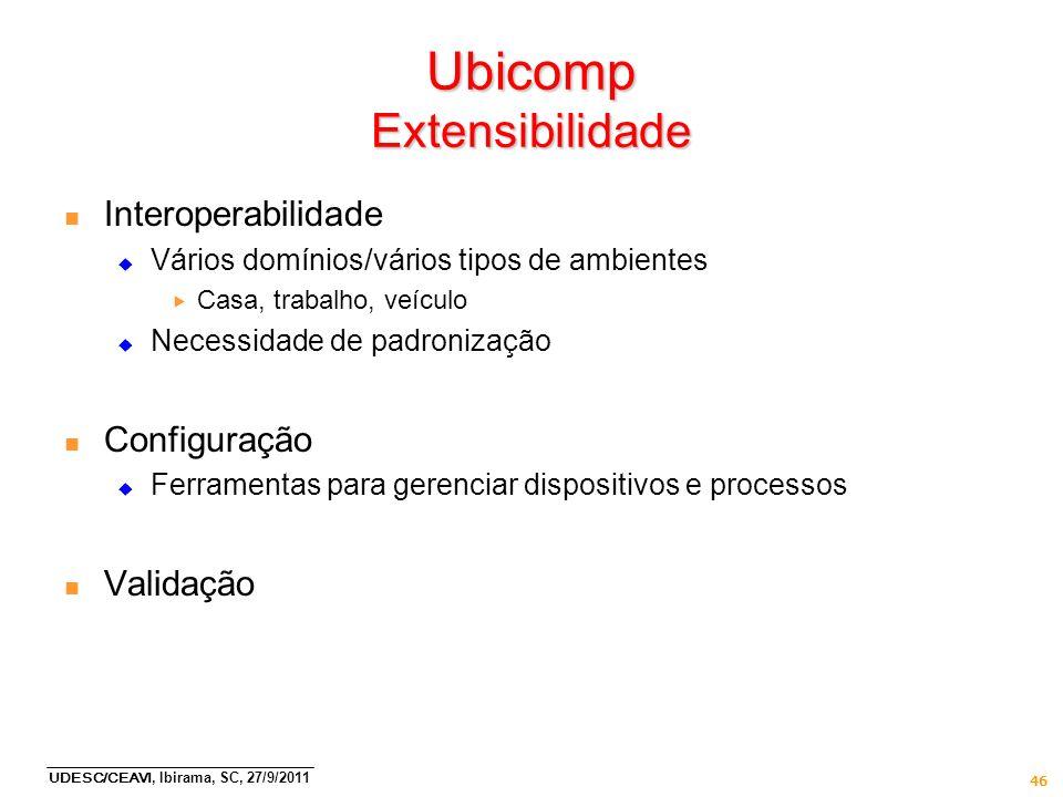 UDESC/CEAVI, Ibirama, SC, 27/9/2011 46 Ubicomp Extensibilidade n Interoperabilidade Vários domínios/vários tipos de ambientes Casa, trabalho, veículo