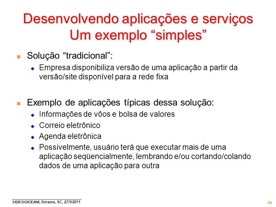 UDESC/CEAVI, Ibirama, SC, 27/9/2011 49 Desenvolvendo aplicações e serviços Um exemplo simples n Solução tradicional: Empresa disponibiliza versão de u