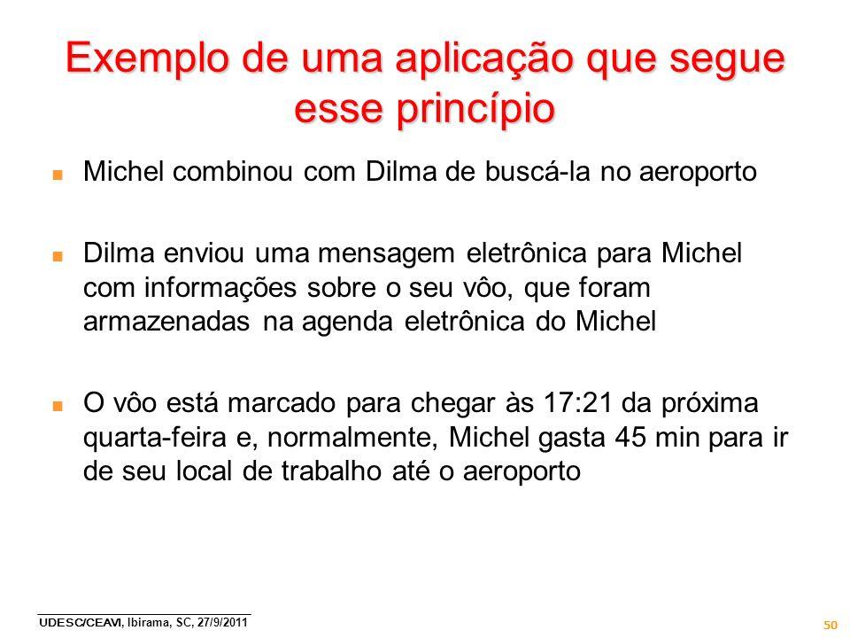 UDESC/CEAVI, Ibirama, SC, 27/9/2011 50 Exemplo de uma aplicação que segue esse princípio n Michel combinou com Dilma de buscá-la no aeroporto n Dilma