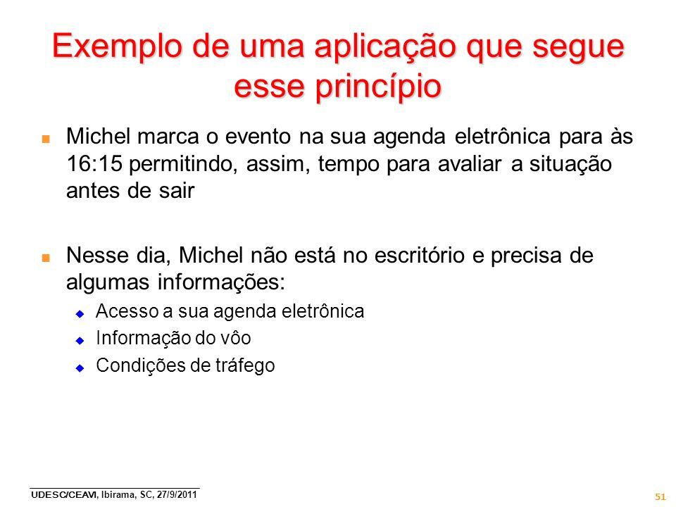 UDESC/CEAVI, Ibirama, SC, 27/9/2011 51 Exemplo de uma aplicação que segue esse princípio n Michel marca o evento na sua agenda eletrônica para às 16:1