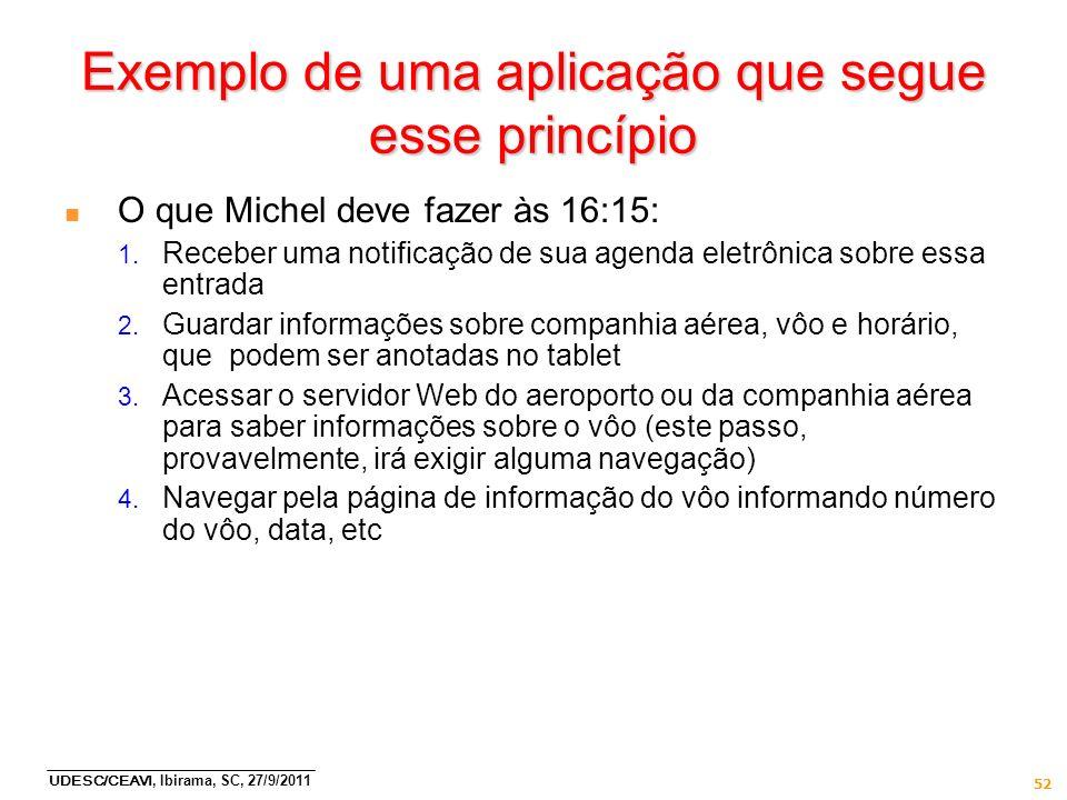 UDESC/CEAVI, Ibirama, SC, 27/9/2011 52 Exemplo de uma aplicação que segue esse princípio n O que Michel deve fazer às 16:15: 1. Receber uma notificaçã