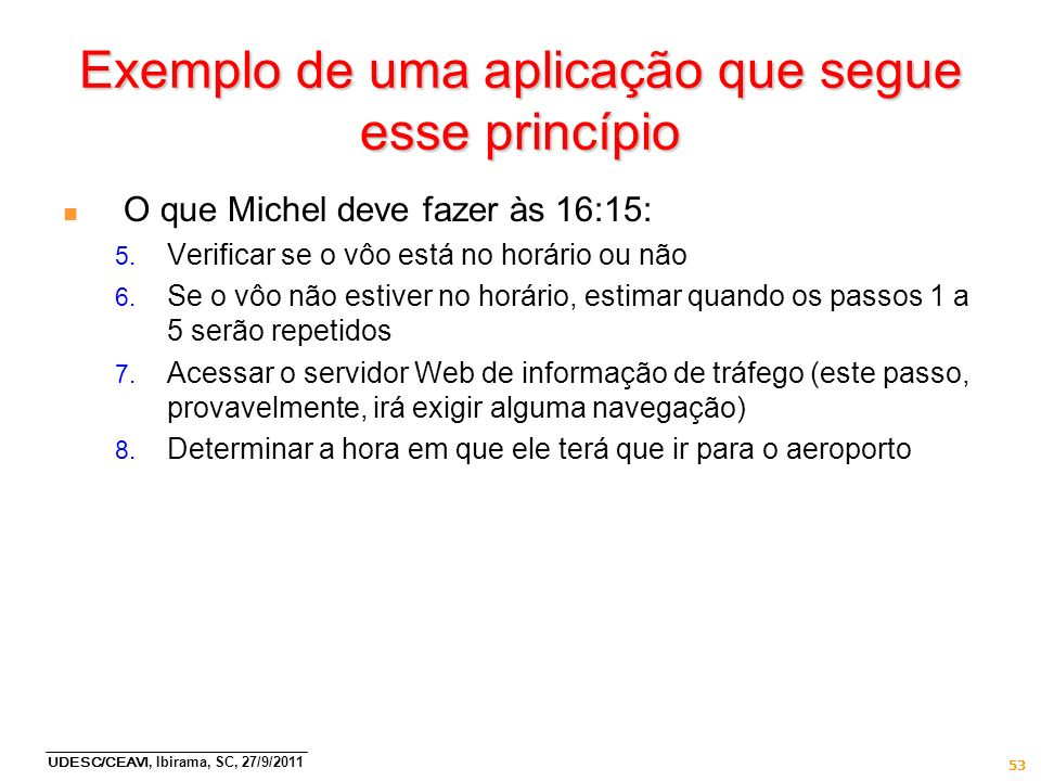 UDESC/CEAVI, Ibirama, SC, 27/9/2011 53 Exemplo de uma aplicação que segue esse princípio n O que Michel deve fazer às 16:15: 5. Verificar se o vôo est
