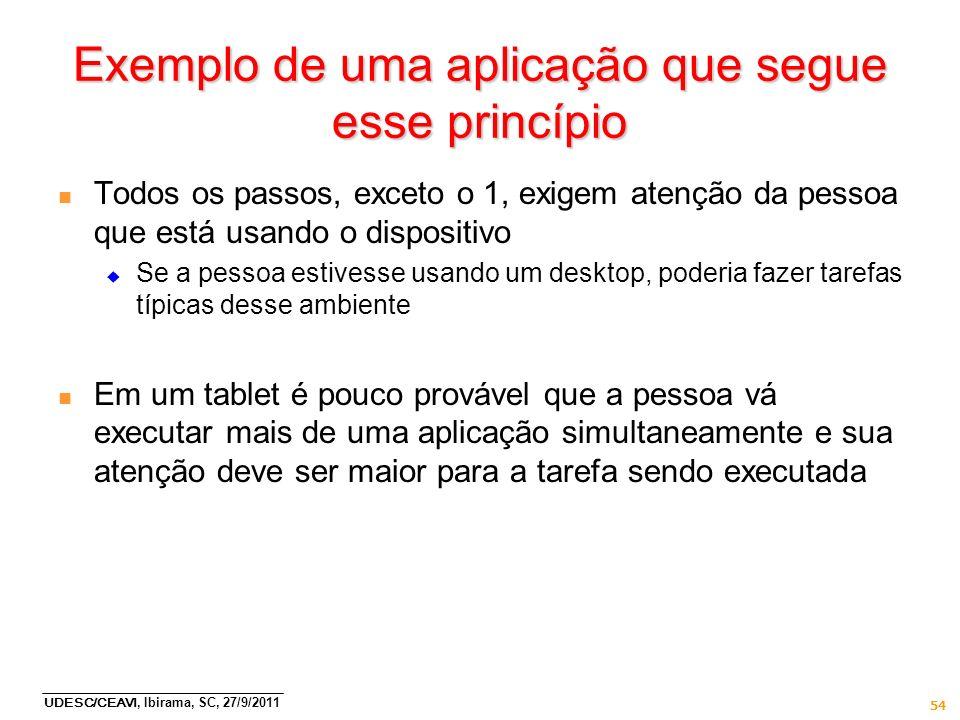 UDESC/CEAVI, Ibirama, SC, 27/9/2011 54 Exemplo de uma aplicação que segue esse princípio n Todos os passos, exceto o 1, exigem atenção da pessoa que e