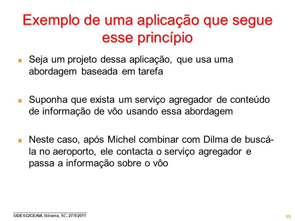 UDESC/CEAVI, Ibirama, SC, 27/9/2011 55 Exemplo de uma aplicação que segue esse princípio n Seja um projeto dessa aplicação, que usa uma abordagem base